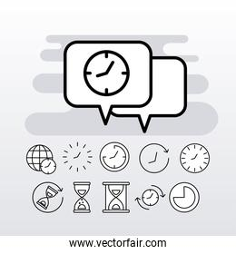 bundle of eleven time clocks line style set icons