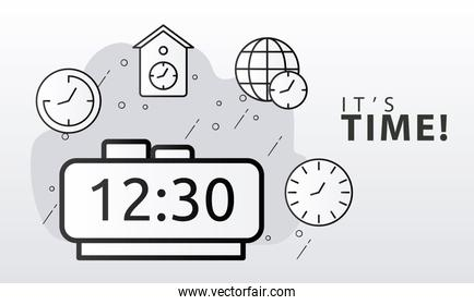 bundle of time clocks line style set icons and lettering