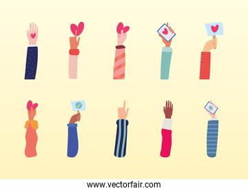 group of ten hands friendship drawn style icon