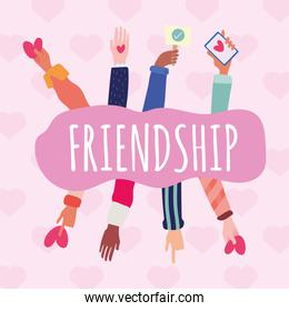 group of hands friendship lettering drawn style icon