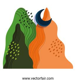 abstract landscape colored mountains and half moon design