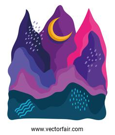 abstract landscape colored backdrop with hand drawn mountains moon and curves