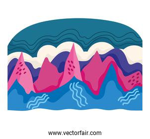 abstract landscape mountains sky and sea creative style