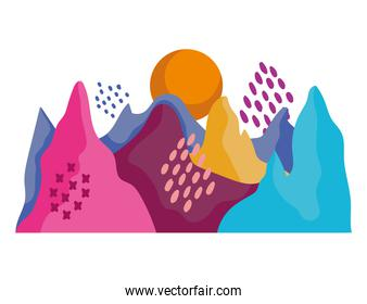 abstract landscape colored mountains peaks nature and sun