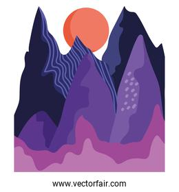 abstract landscape color shaped mountains and sun