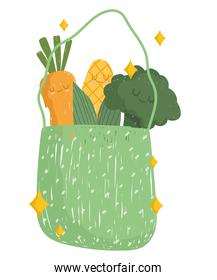 cartoon vegetables in bag cheerful food mascot icon