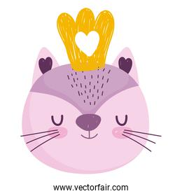 cute cat head animal with crown cartoon character