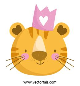 cute tiger head animal with crown cartoon character