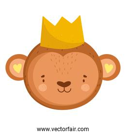 cute monkey head animal with crown cartoon character