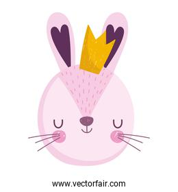 cute rabbit head animal with crown cartoon character