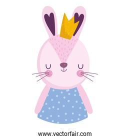 cartoon female rabbit with crown animal portrait character
