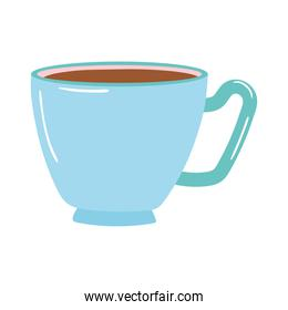 tea and coffee blue cup icon over white background
