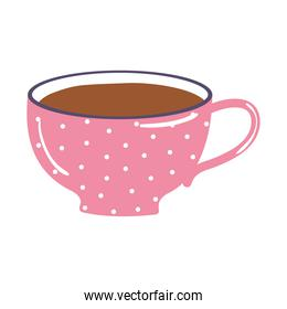 tea and coffee dotted pink cup icon over white background