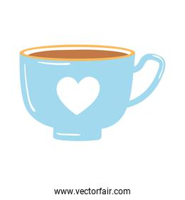 tea and coffee blue cup with heart icon over white background