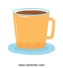 tea and coffee cup in saucer icon over white background