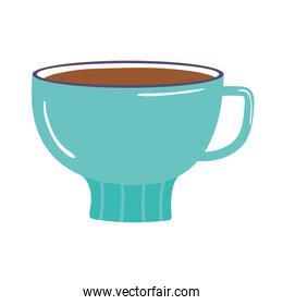 tea and coffee cup breakfast icon over white background