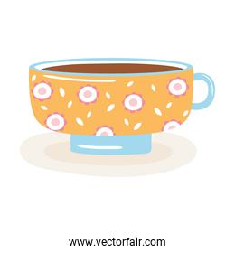 tea and coffee cup with flowers painted icon over white background