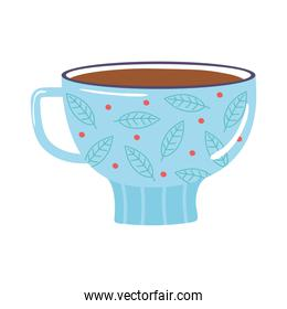 tea and coffee cup with leaves and dots icon over white background