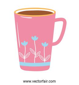 tea and coffee cup with printed flowers icon over white background