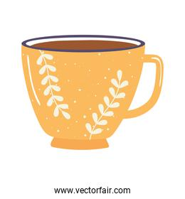 tea and coffee cup floral decoration icon over white background