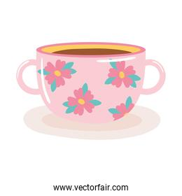 tea and coffee cup with delicate flowers icon over white background