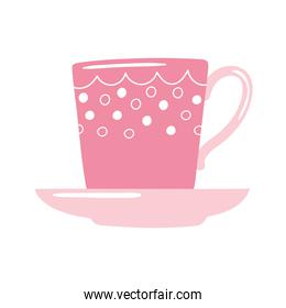 tea and coffee cup decorative design icon over white background