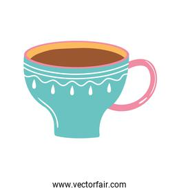 tea and coffee cup fresh beverage icon over white background