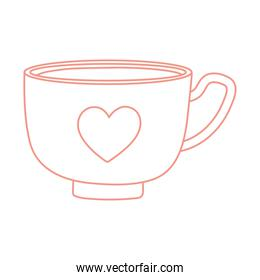tea and coffee cup with heart icon line style