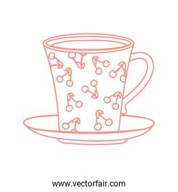 tea and coffee cup with cherries painted icon line style