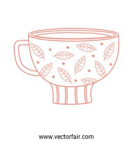 tea and coffee cup with leaves and dots icon line style