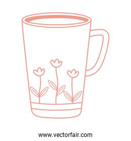 tea and coffee cup with printed flowers icon line style