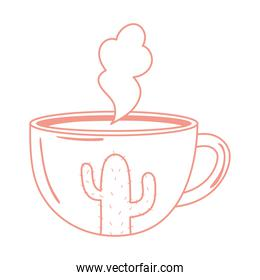 tea and coffee cup hot beverage and cactus painted icon white background