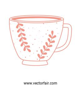 tea and coffee cup floral decoration icon line style