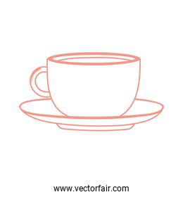 tea and coffee cup in platter icon line style