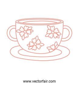 tea and coffee cup with delicate flowers icon line style