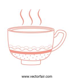 cup of fresh tea or coffee icon line style