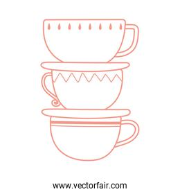 tea and coffee stack of cups icon line style
