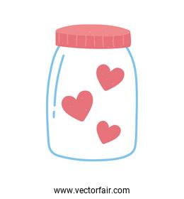 jar glass with hearts love and romance in cartoon style