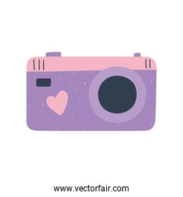 camera with heart love and romance in cartoon style