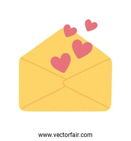 envelope hearts letter love and romance in cartoon style