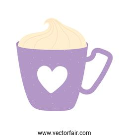 coffee cup with cream and heart decoration love and romance in cartoon style