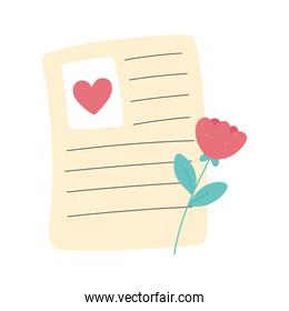 letter with flower message love and romance in cartoon style