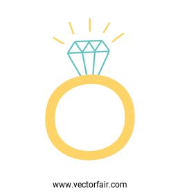 ring with diamond jewelry icon in cartoon style