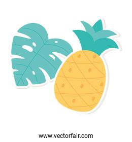 tropical pineapple and palm leaf decoration cartoon style sticker white background