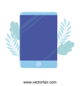 smartphone gadget technology, foliage leaves cartoon