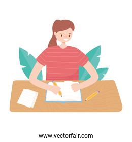 girl written on notebook, reading and studying education