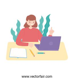 girl with laptop and book reading and studying education