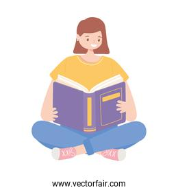 girl sitting with book reading and studying education