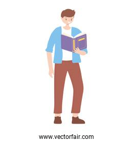 boy with book reading and studying education