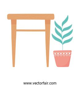 wood table and potted plant decoration interior design